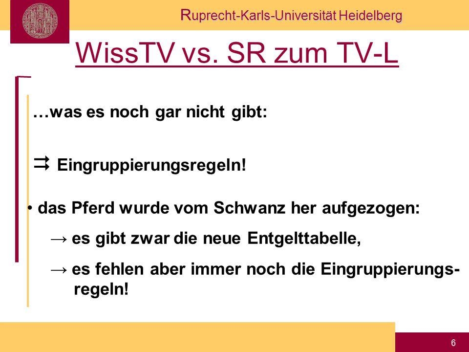R uprecht-Karls-Universität Heidelberg 6 WissTV vs. SR zum TV-L …was es noch gar nicht gibt:  Eingruppierungsregeln! das Pferd wurde vom Schwanz her