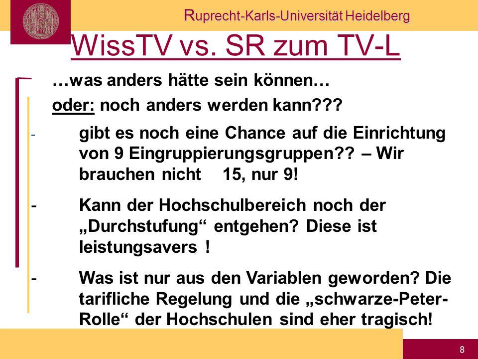R uprecht-Karls-Universität Heidelberg 8 WissTV vs. SR zum TV-L …was anders hätte sein können… oder: noch anders werden kann??? - gibt es noch eine Ch