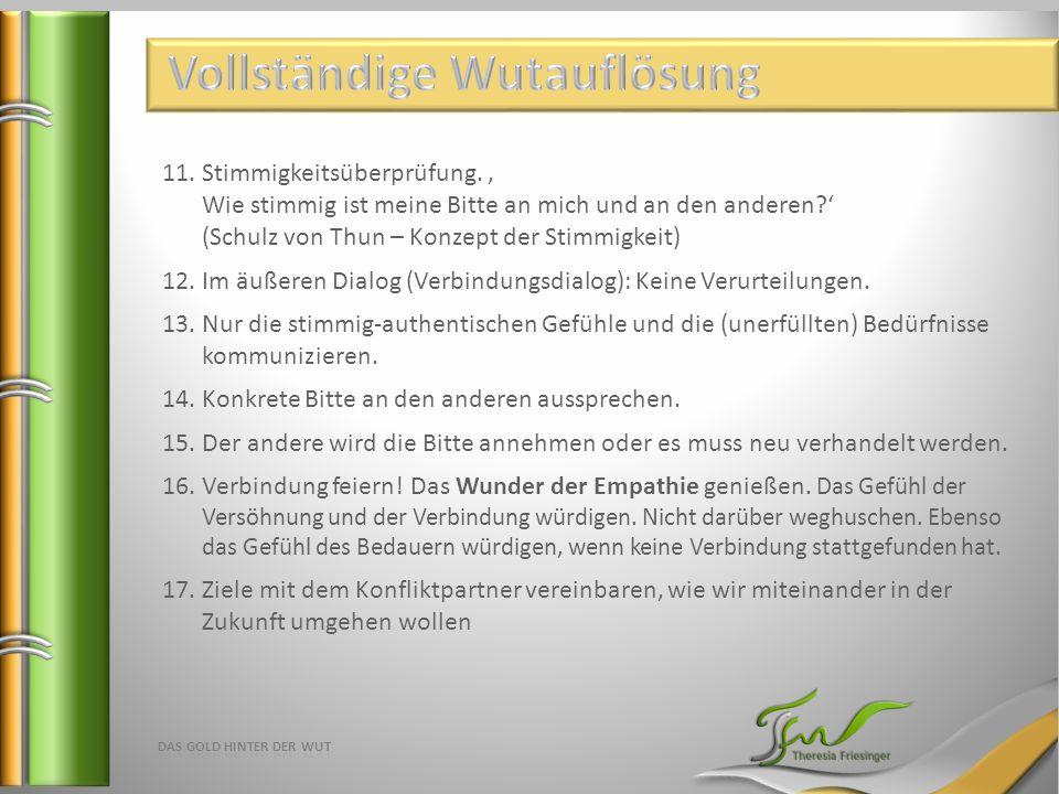 11.Stimmigkeitsüberprüfung., Wie stimmig ist meine Bitte an mich und an den anderen?' (Schulz von Thun – Konzept der Stimmigkeit) 12.Im äußeren Dialog (Verbindungsdialog): Keine Verurteilungen.