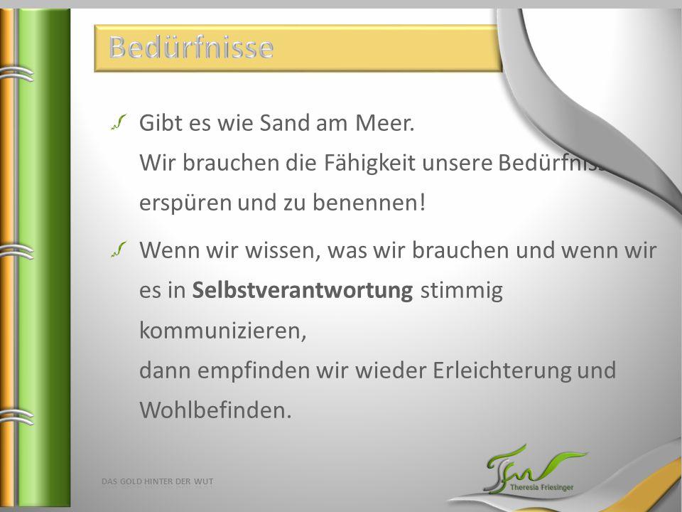 Gibt es wie Sand am Meer. Wir brauchen die Fähigkeit unsere Bedürfnisse zu erspüren und zu benennen! Wenn wir wissen, was wir brauchen und wenn wir es