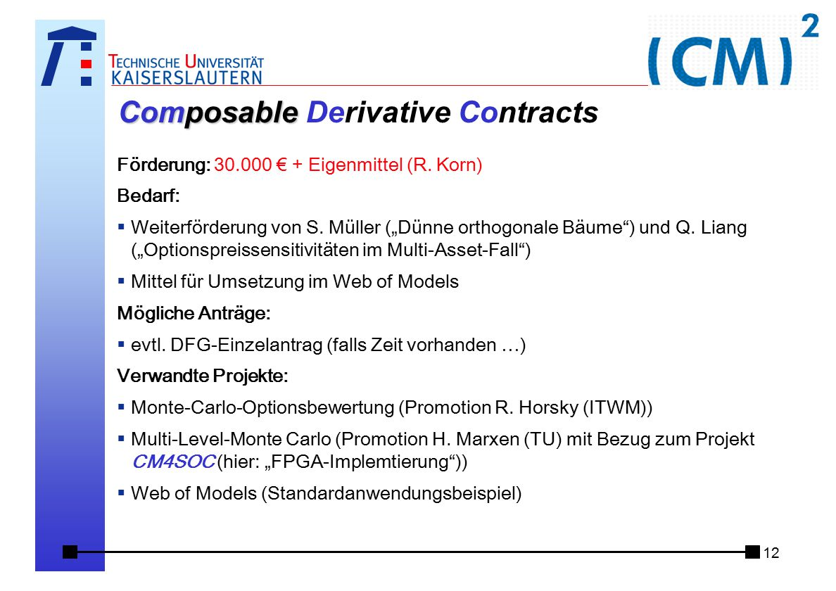 12 Composable Composable Derivative Contracts Förderung: 30.000 € + Eigenmittel (R.