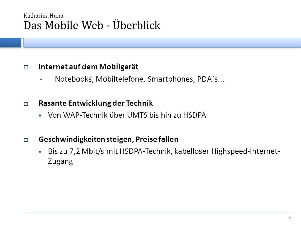  Internet auf dem Mobilgerät  Notebooks, Mobiltelefone, Smartphones, PDA`s...  Rasante Entwicklung der Technik  Von WAP-Technik über UMTS bis hin