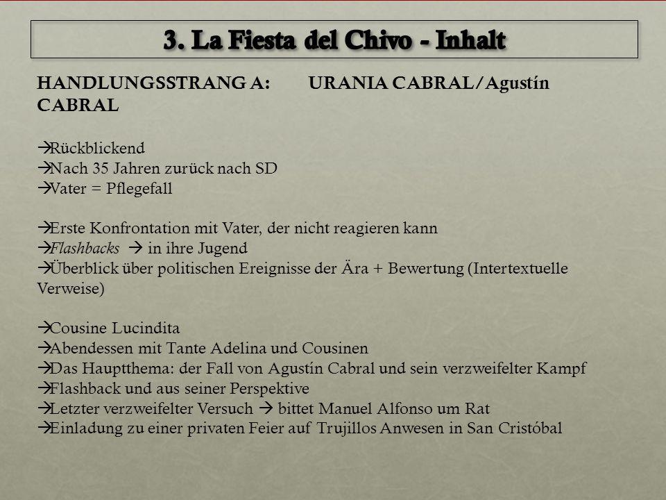 HANDLUNGSSTRANG A: URANIA CABRAL/Agustín CABRAL  Rückblickend  Nach 35 Jahren zurück nach SD  Vater = Pflegefall  Erste Konfrontation mit Vater, d