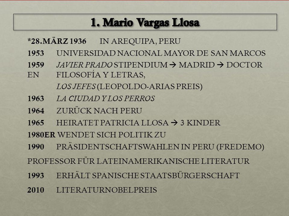 *28.MÄRZ 1936 IN AREQUIPA, PERU 1953 UNIVERSIDAD NACIONAL MAYOR DE SAN MARCOS 1959 JAVIER PRADO STIPENDIUM  MADRID  DOCTOR EN FILOSOFÍA Y LETRAS, LO