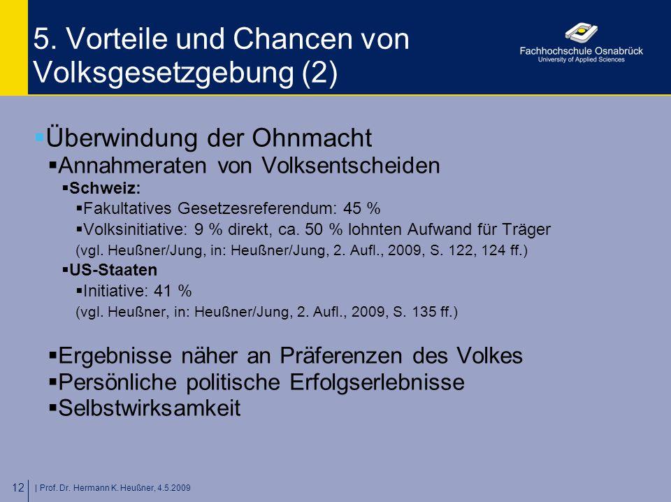 | Prof. Dr. Hermann K. Heußner, 4.5.2009 12 5. Vorteile und Chancen von Volksgesetzgebung (2)  Überwindung der Ohnmacht  Annahmeraten von Volksentsc