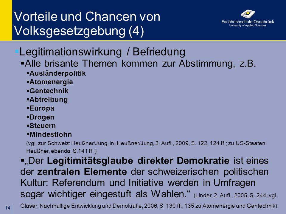14 Vorteile und Chancen von Volksgesetzgebung (4)  Legitimationswirkung / Befriedung  Alle brisante Themen kommen zur Abstimmung, z.B.  Ausländerpo