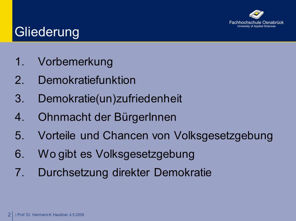 | Prof. Dr. Hermann K. Heußner, 4.5.2009 2 Gliederung 1.Vorbemerkung 2.Demokratiefunktion 3.Demokratie(un)zufriedenheit 4.Ohnmacht der BürgerInnen 5.V