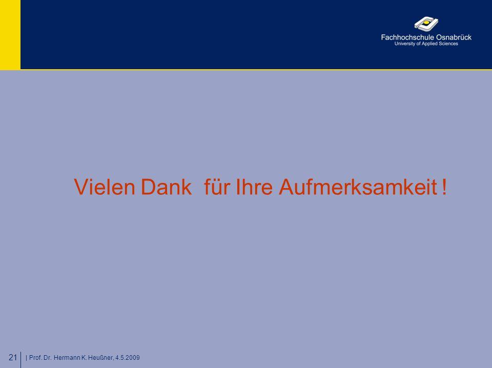| Prof. Dr. Hermann K. Heußner, 4.5.2009 21 Vielen Dank für Ihre Aufmerksamkeit !