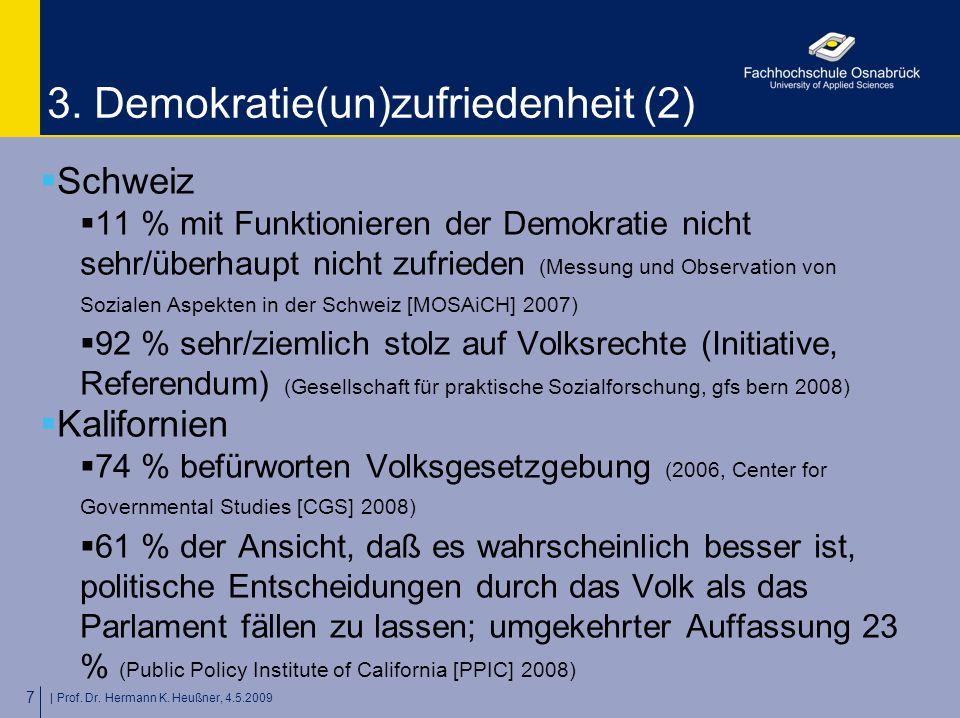 | Prof. Dr. Hermann K. Heußner, 4.5.2009 7 3. Demokratie(un)zufriedenheit (2)  Schweiz  11 % mit Funktionieren der Demokratie nicht sehr/überhaupt n