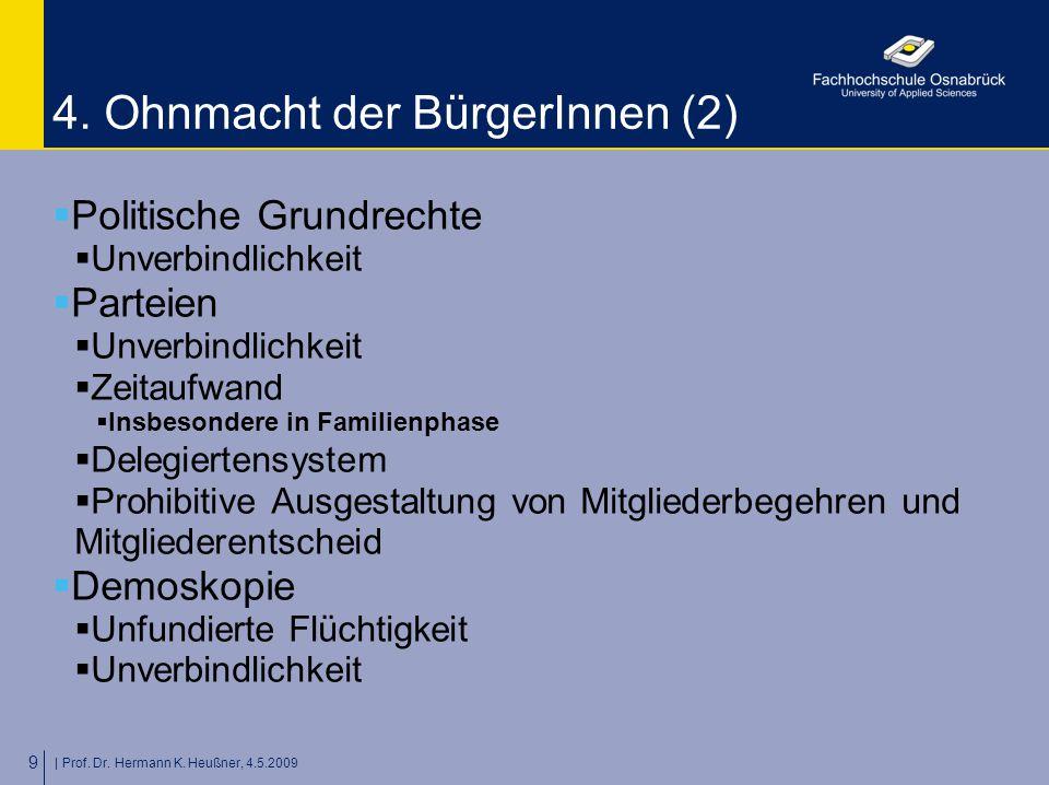 | Prof. Dr. Hermann K. Heußner, 4.5.2009 9 4. Ohnmacht der BürgerInnen (2)  Politische Grundrechte  Unverbindlichkeit  Parteien  Unverbindlichkeit