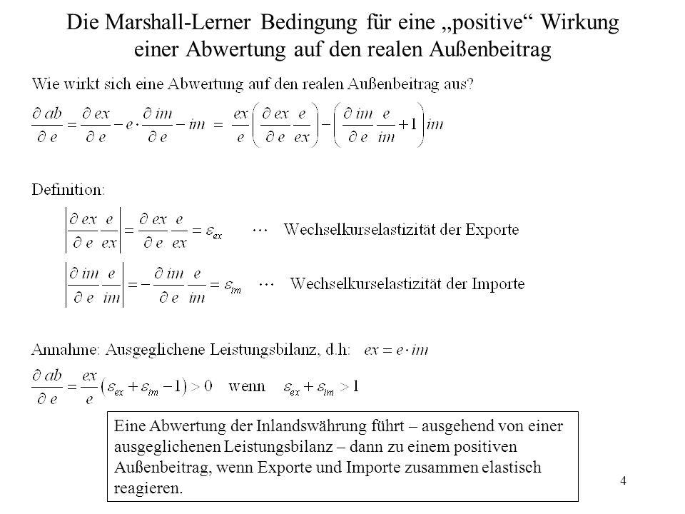 """4 Die Marshall-Lerner Bedingung für eine """"positive"""" Wirkung einer Abwertung auf den realen Außenbeitrag Eine Abwertung der Inlandswährung führt – ausg"""