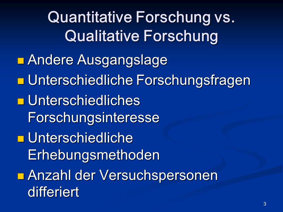 3 Quantitative Forschung vs. Qualitative Forschung Andere Ausgangslage Andere Ausgangslage Unterschiedliche Forschungsfragen Unterschiedliche Forschun