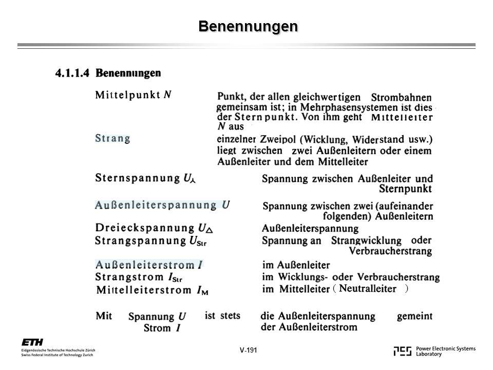 Benennungen ( ) V-191