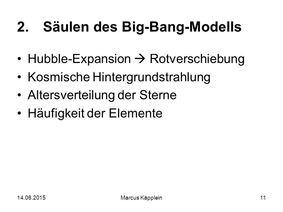 14.06.2015Marcus Käpplein11 2.Säulen des Big-Bang-Modells Hubble-Expansion  Rotverschiebung Kosmische Hintergrundstrahlung Altersverteilung der Stern