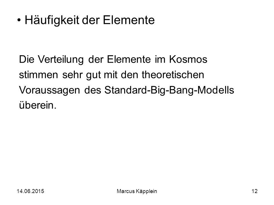 14.06.2015Marcus Käpplein12 Häufigkeit der Elemente Die Verteilung der Elemente im Kosmos stimmen sehr gut mit den theoretischen Voraussagen des Stand