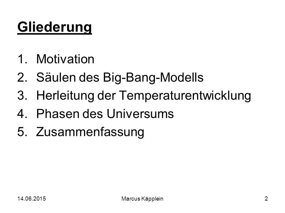 14.06.2015Marcus Käpplein2 Gliederung 1.Motivation 2.Säulen des Big-Bang-Modells 3.Herleitung der Temperaturentwicklung 4.Phasen des Universums 5.Zusa