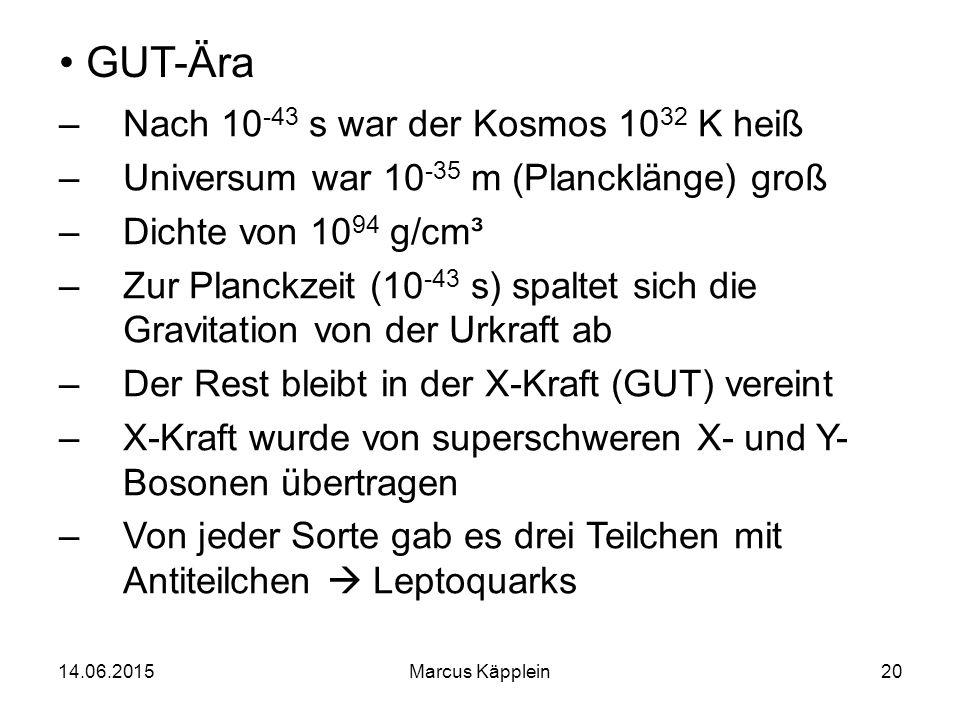 14.06.2015Marcus Käpplein20 GUT-Ära –Nach 10 -43 s war der Kosmos 10 32 K heiß –Universum war 10 -35 m (Plancklänge) groß –Dichte von 10 94 g/cm³ –Zur