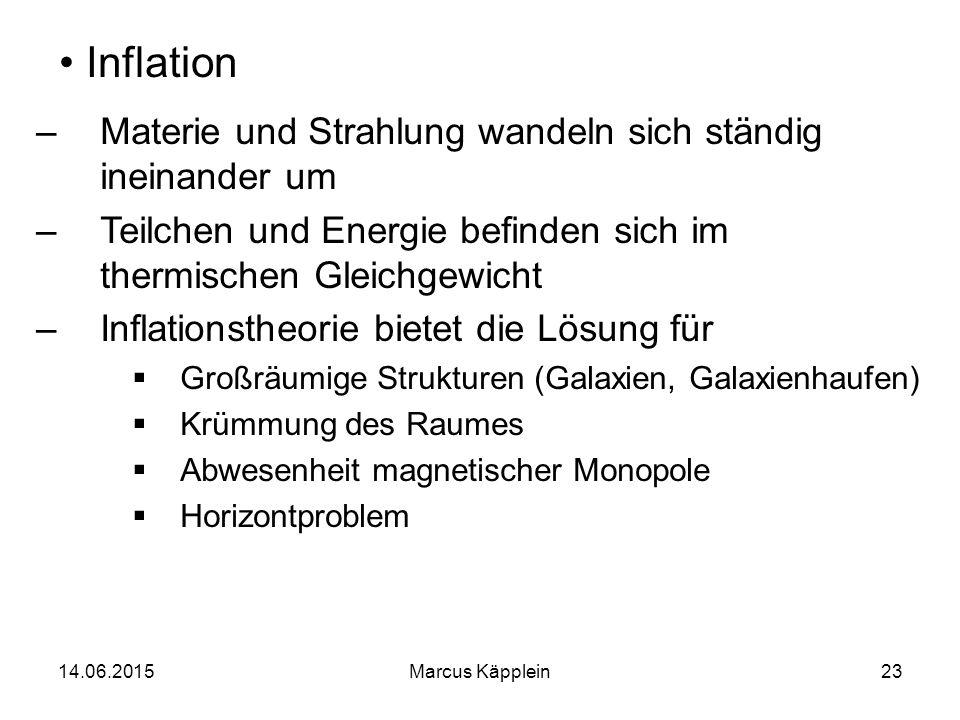 14.06.2015Marcus Käpplein23 Inflation –Materie und Strahlung wandeln sich ständig ineinander um –Teilchen und Energie befinden sich im thermischen Gle