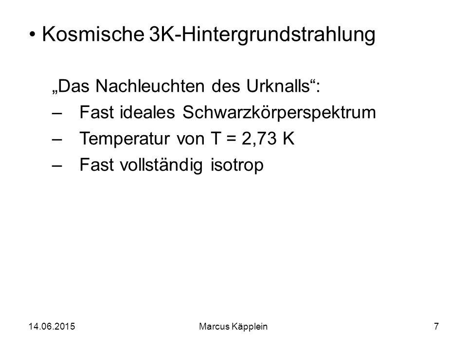 """14.06.2015Marcus Käpplein7 Kosmische 3K-Hintergrundstrahlung """"Das Nachleuchten des Urknalls"""": –Fast ideales Schwarzkörperspektrum –Temperatur von T ="""