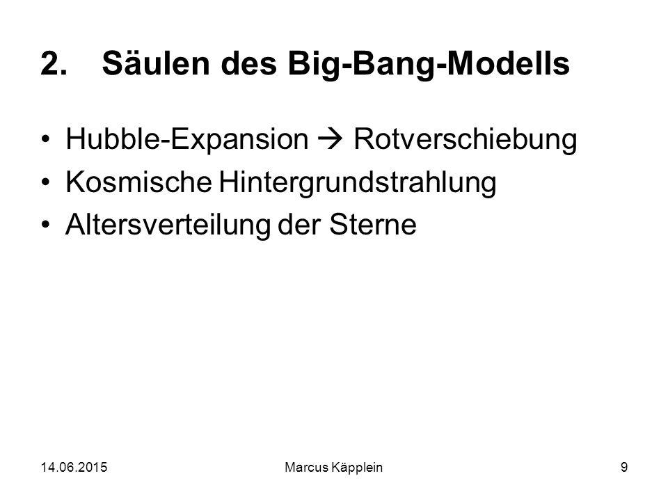 14.06.2015Marcus Käpplein9 2.Säulen des Big-Bang-Modells Hubble-Expansion  Rotverschiebung Kosmische Hintergrundstrahlung Altersverteilung der Sterne