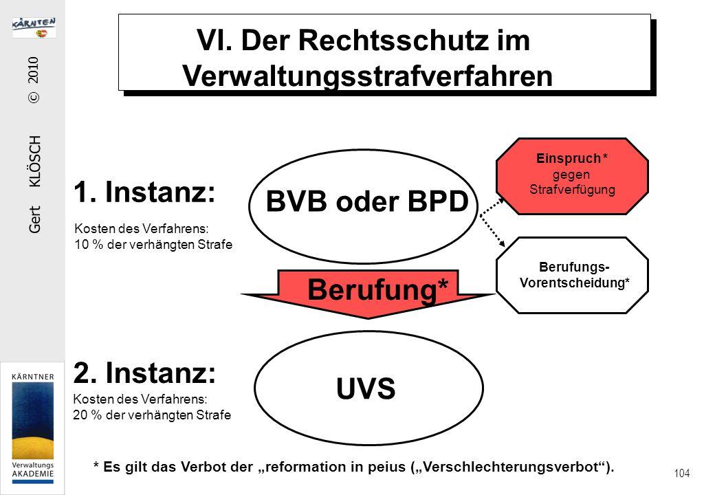 Gert KLÖSCH © 2010 104 VI. Der Rechtsschutz im Verwaltungsstrafverfahren Berufung* BVB oder BPD UVS 1. Instanz: 2. Instanz: Kosten des Verfahrens: 10
