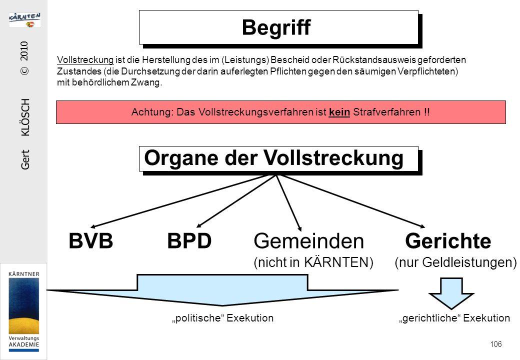 """Gert KLÖSCH © 2010 106 Organe der Vollstreckung BVB BPD Gemeinden Gerichte (nicht in KÄRNTEN)(nur Geldleistungen) """"politische"""" Exekution """"gerichtliche"""