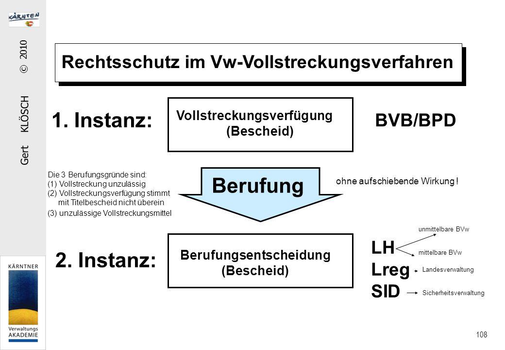 Gert KLÖSCH © 2010 108 Rechtsschutz im Vw-Vollstreckungsverfahren Vollstreckungsverfügung (Bescheid) Berufung Berufungsentscheidung (Bescheid) Die 3 Berufungsgründe sind: (1) Vollstreckung unzulässig (2) Vollstreckungsverfügung stimmt mit Titelbescheid nicht überein (3) unzulässige Vollstreckungsmittel 1.