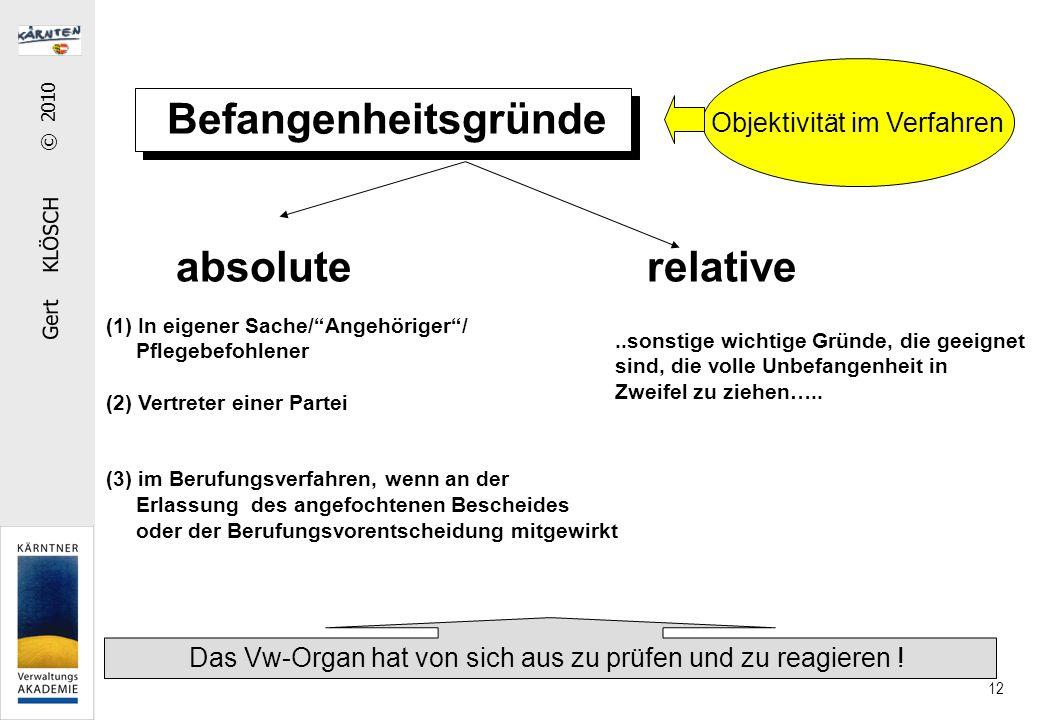 """Gert KLÖSCH © 2010 12 Befangenheitsgründe absolute relative (1) In eigener Sache/""""Angehöriger""""/ Pflegebefohlener (2) Vertreter einer Partei (3) im Ber"""
