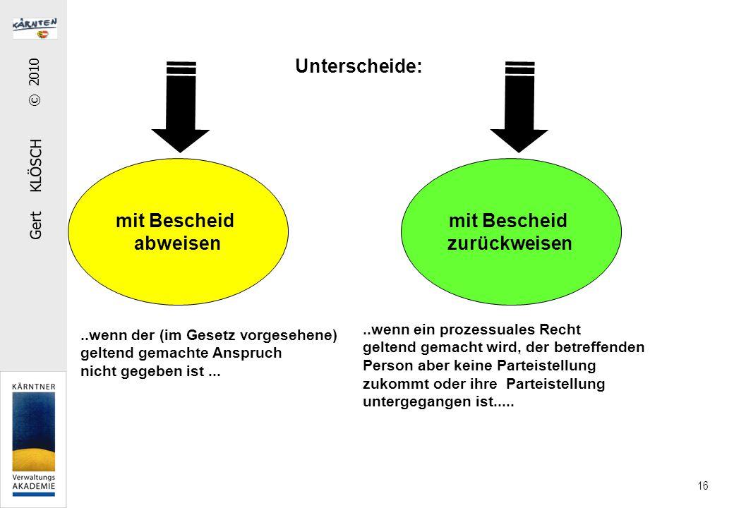 Gert KLÖSCH © 2010 16 Unterscheide: mit Bescheid abweisen mit Bescheid zurückweisen..wenn der (im Gesetz vorgesehene) geltend gemachte Anspruch nicht