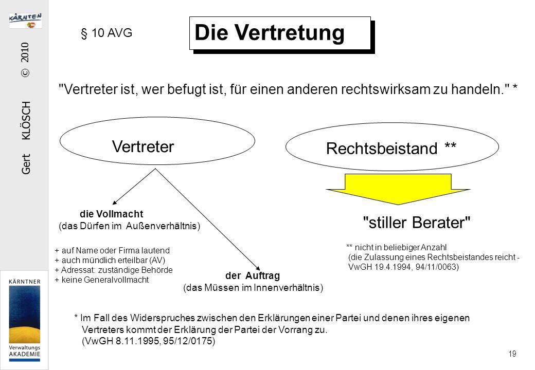 Gert KLÖSCH © 2010 19 Die Vertretung Vertreter Rechtsbeistand **