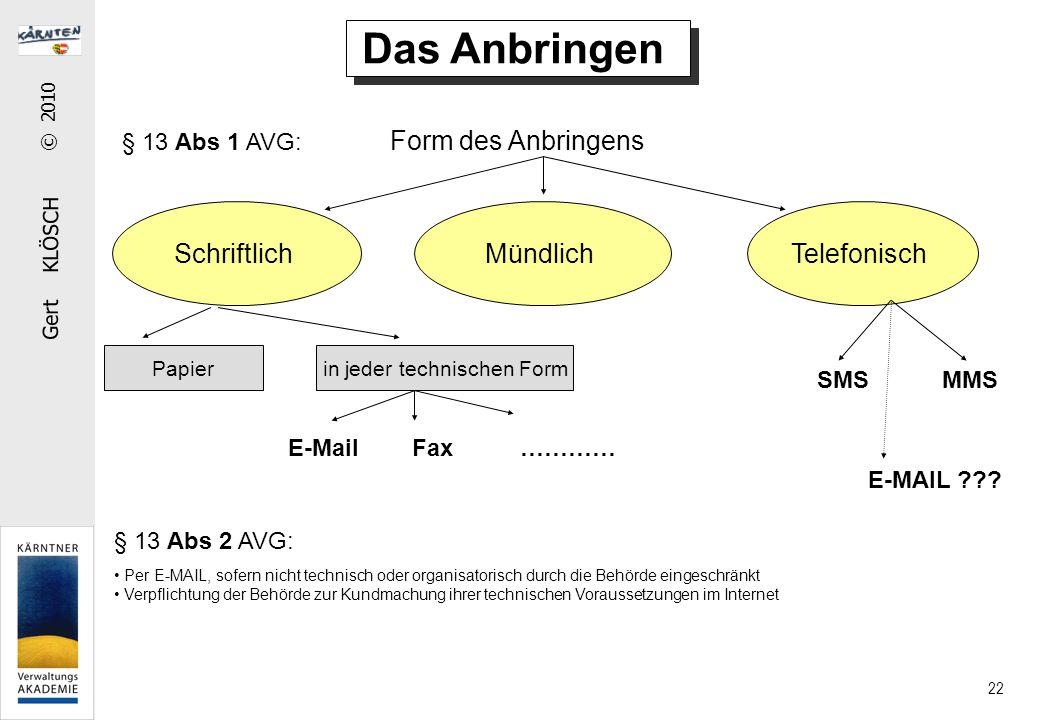 Gert KLÖSCH © 2010 22 § 13 Abs 1 AVG: Form des Anbringens Das Anbringen SchriftlichMündlich Per E-MAIL, sofern nicht technisch oder organisatorisch du