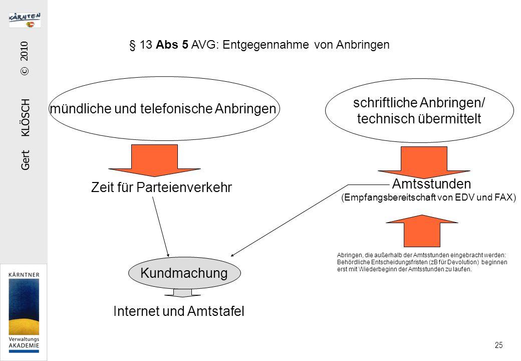 Gert KLÖSCH © 2010 25 § 13 Abs 5 AVG: Entgegennahme von Anbringen mündliche und telefonische Anbringen schriftliche Anbringen/ technisch übermittelt Z