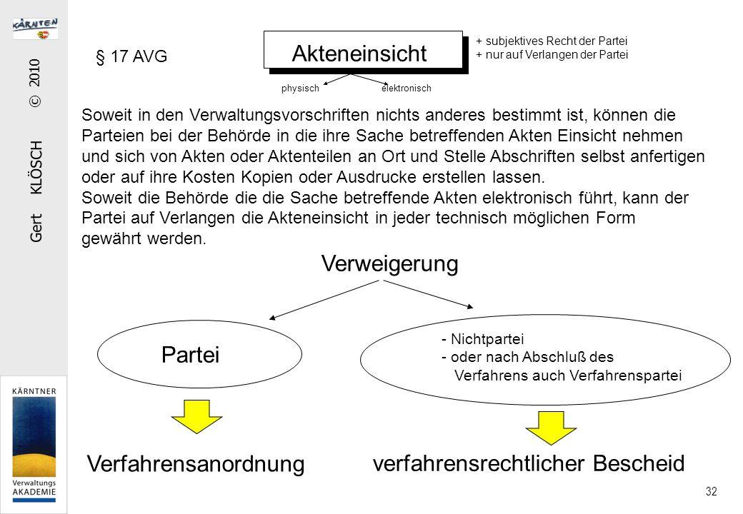 Gert KLÖSCH © 2010 32 Akteneinsicht Soweit in den Verwaltungsvorschriften nichts anderes bestimmt ist, können die Parteien bei der Behörde in die ihre