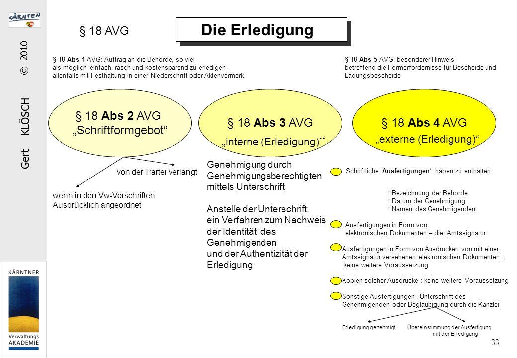 Gert KLÖSCH © 2010 33 Die Erledigung § 18 Abs 1 AVG: Auftrag an die Behörde, so viel als möglich einfach, rasch und kostensparend zu erledigen- allenf