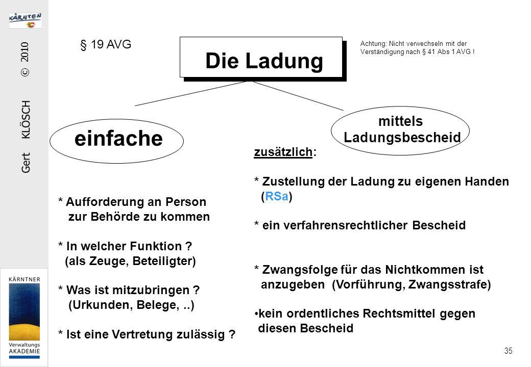 Gert KLÖSCH © 2010 35 Die Ladung einfache mittels Ladungsbescheid * Aufforderung an Person zur Behörde zu kommen * In welcher Funktion ? (als Zeuge, B