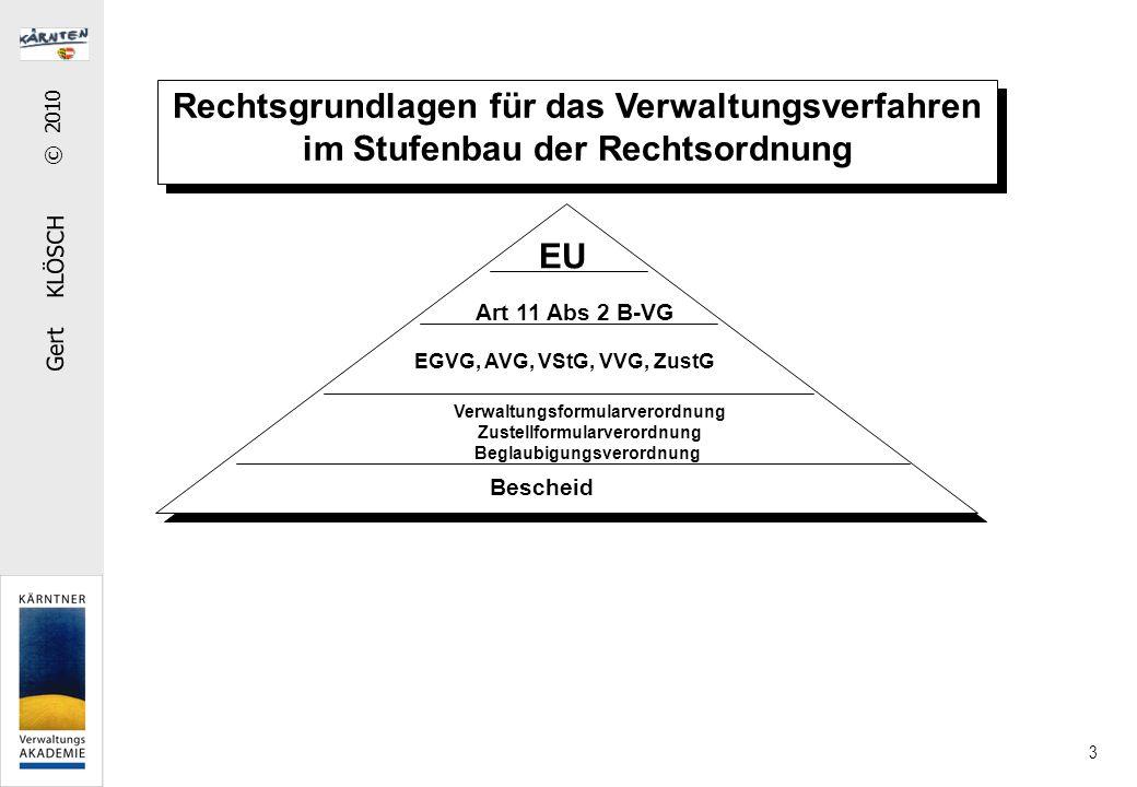 Gert KLÖSCH © 2010 3 Rechtsgrundlagen für das Verwaltungsverfahren im Stufenbau der Rechtsordnung Art 11 Abs 2 B-VG EGVG, AVG, VStG, VVG, ZustG Verwaltungsformularverordnung Zustellformularverordnung Beglaubigungsverordnung Bescheid EU