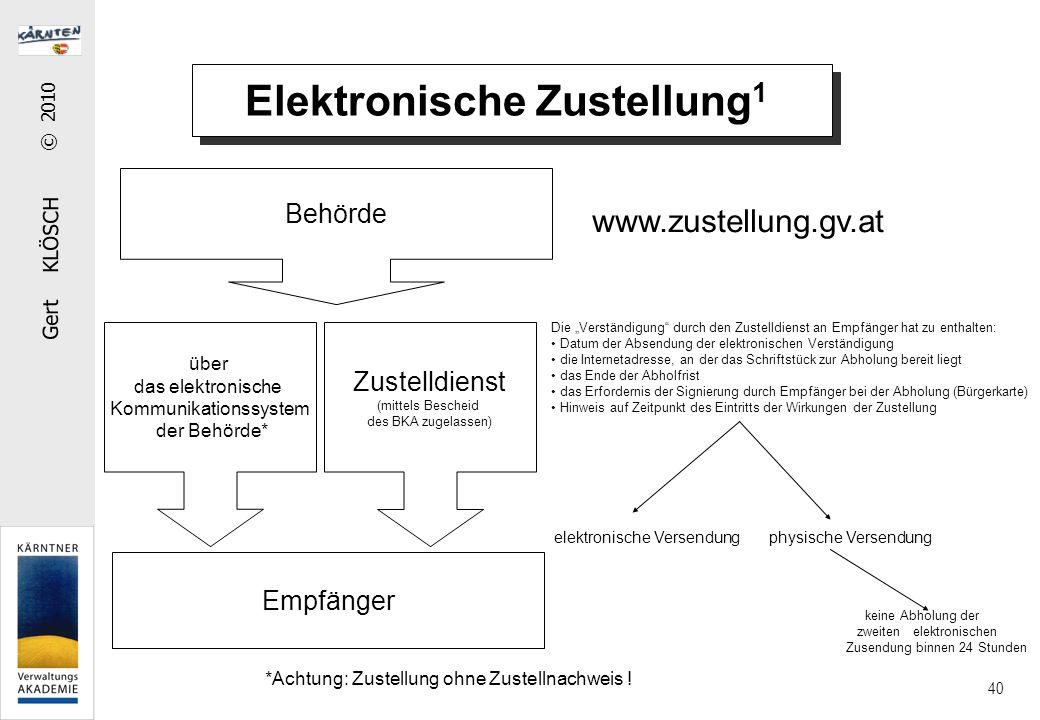 """Gert KLÖSCH © 2010 40 Elektronische Zustellung 1 Zustelldienst (mittels Bescheid des BKA zugelassen) Behörde Empfänger Die """"Verständigung"""" durch den Z"""