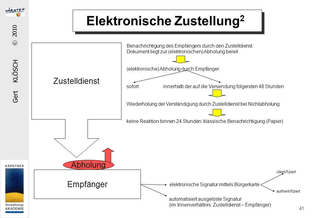 Gert KLÖSCH © 2010 41 Elektronische Zustellung 2 Zustelldienst Empfänger Benachrichtigung des Empfängers durch den Zustelldienst : Dokument liegt zur