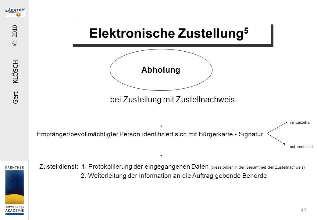 Gert KLÖSCH © 2010 44 Elektronische Zustellung 5 Abholung bei Zustellung mit Zustellnachweis Empfänger/bevollmächtigter Person identifiziert sich mit Bürgerkarte - Signatur Zustelldienst: 1.