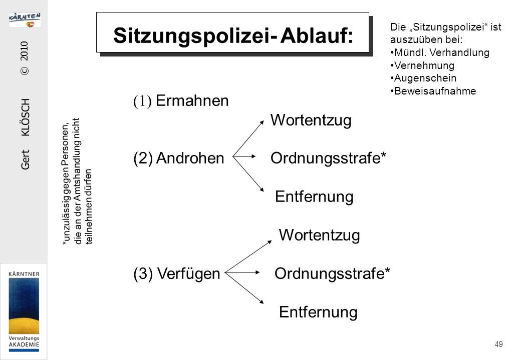 """Gert KLÖSCH © 2010 49 (1) Ermahnen Wortentzug (2) Androhen Ordnungsstrafe* Entfernung Wortentzug (3) Verfügen Ordnungsstrafe* Entfernung Die """"Sitzungspolizei ist auszuüben bei: Mündl."""