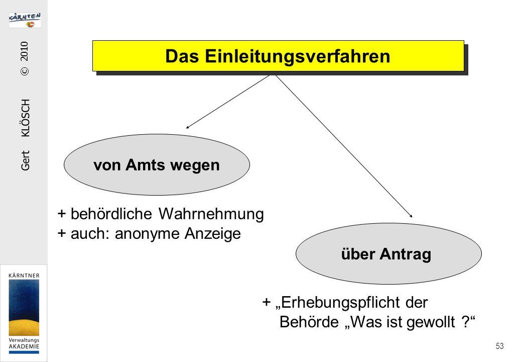 """Gert KLÖSCH © 2010 53 von Amts wegen über Antrag Das Einleitungsverfahren + behördliche Wahrnehmung + auch: anonyme Anzeige + """"Erhebungspflicht der Behörde """"Was ist gewollt ?"""