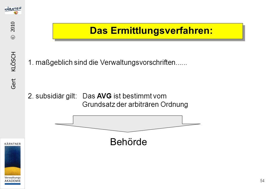 Gert KLÖSCH © 2010 54 Das Ermittlungsverfahren: 1. maßgeblich sind die Verwaltungsvorschriften...... 2. subsidiär gilt: Das AVG ist bestimmt vom Grund