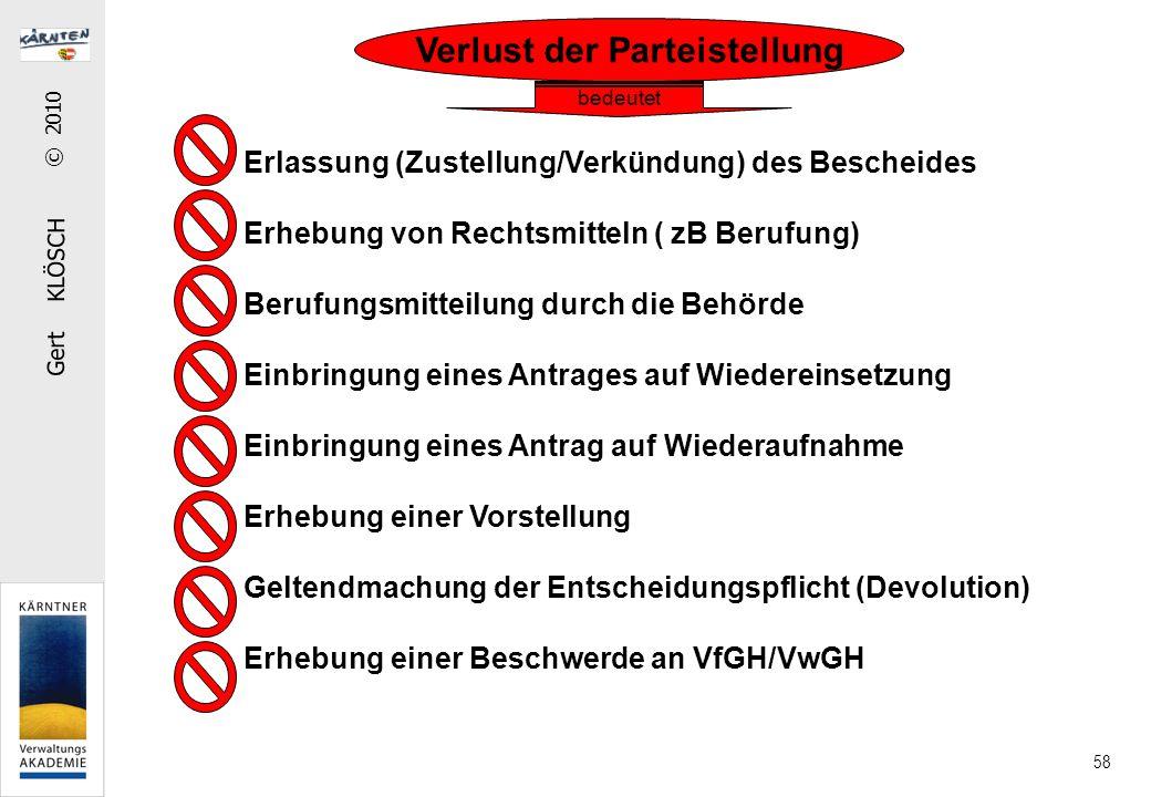 Gert KLÖSCH © 2010 58 Verlust der Parteistellung Erlassung (Zustellung/Verkündung) des Bescheides Erhebung von Rechtsmitteln ( zB Berufung) Berufungsm