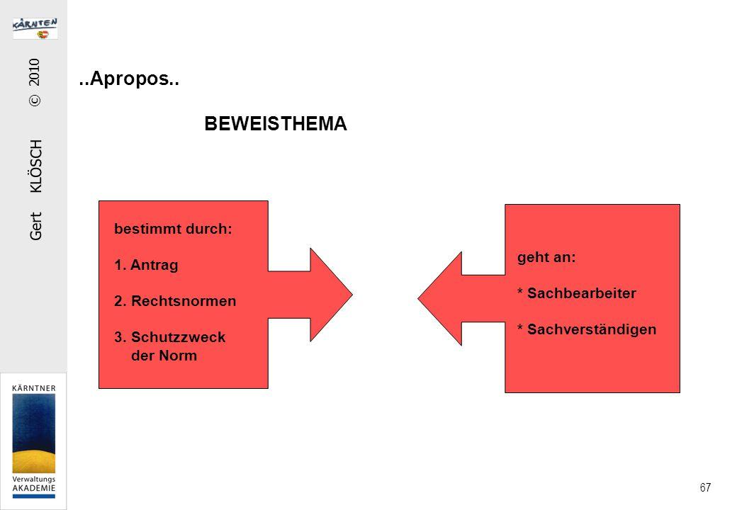 Gert KLÖSCH © 2010 67..Apropos.. BEWEISTHEMA bestimmt durch: 1. Antrag 2. Rechtsnormen 3. Schutzzweck der Norm geht an: * Sachbearbeiter * Sachverstän