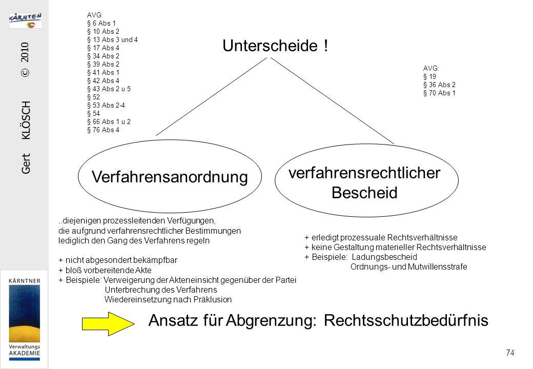 Gert KLÖSCH © 2010 74 Unterscheide ! Verfahrensanordnung verfahrensrechtlicher Bescheid.. diejenigen prozessleitenden Verfügungen, die aufgrund verfah