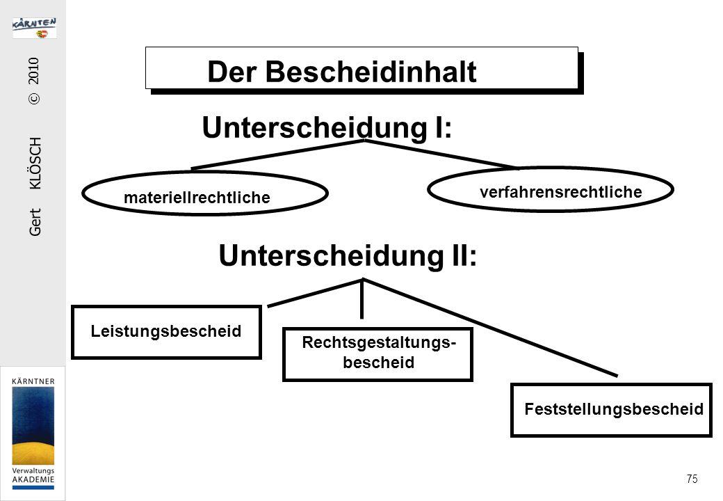 Gert KLÖSCH © 2010 75 Der Bescheidinhalt Unterscheidung I: Unterscheidung II: materiellrechtliche verfahrensrechtliche Leistungsbescheid Rechtsgestaltungs- bescheid Feststellungsbescheid