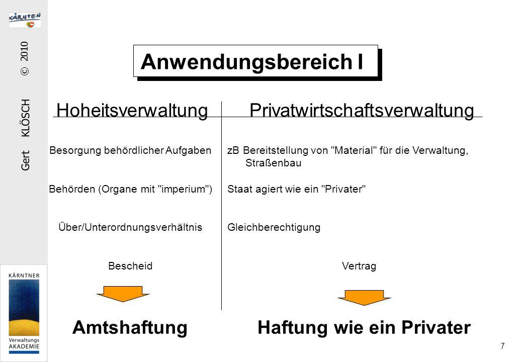 Gert KLÖSCH © 2010 7 Anwendungsbereich I HoheitsverwaltungPrivatwirtschaftsverwaltung Besorgung behördlicher Aufgaben Behörden (Organe mit