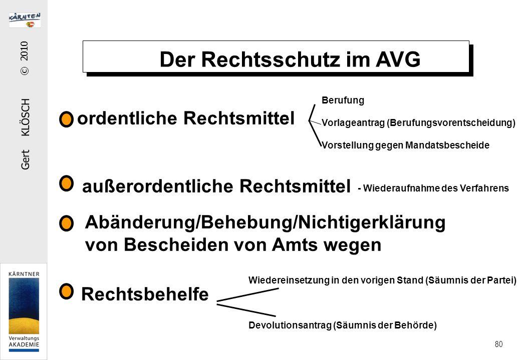Gert KLÖSCH © 2010 80 Der Rechtsschutz im AVG ordentliche Rechtsmittel außerordentliche Rechtsmittel Abänderung/Behebung/Nichtigerklärung von Bescheid