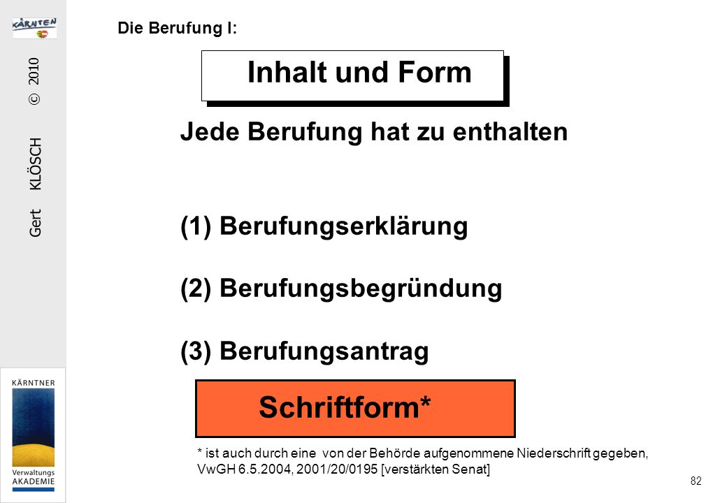 Gert KLÖSCH © 2010 82 Inhalt und Form Jede Berufung hat zu enthalten (1) Berufungserklärung (2) Berufungsbegründung (3) Berufungsantrag Schriftform* *