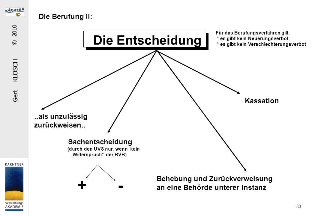 """Gert KLÖSCH © 2010 83 Die Berufung II: Die Entscheidung..als unzulässig zurückweisen.. Sachentscheidung (durch den UVS nur, wenn kein """"Widerspruch"""" de"""
